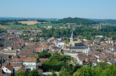 The medieval French town Orthez view from above  During the 12th century it was the capital of Bearn  Stok Fotoğraf