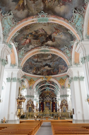 gall: The St  Gall cathedral is photographed on the inside  This is one of the most important baroque monuments in Switzerland
