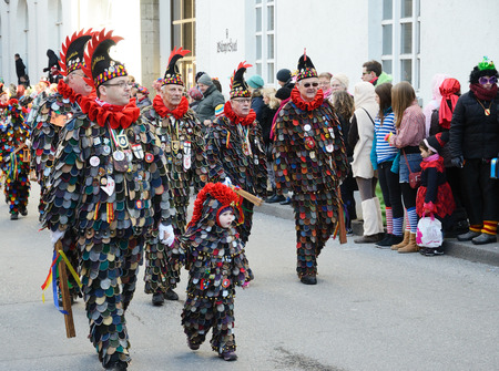 fasching: Mummers in costume of Narro are stalking along the street of German city Konstanz at the traditional funfair Fasching