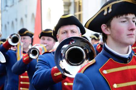fasching: Trumpets are plaing in the street of German city Konstanz at the traditional funfair Fasching. Editorial