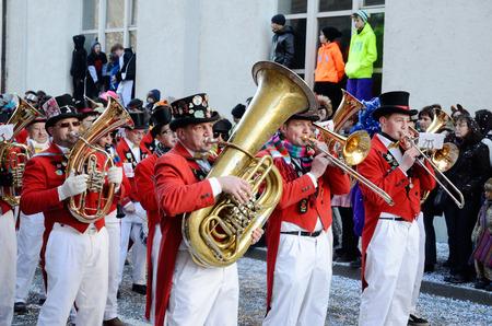 fasching: Trumpets are marching and plaing in the street of the German city Konstanz at the traditional funfair Fasching.