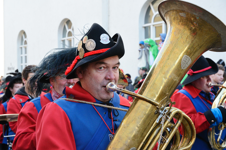 fasching: Trumpets are marching and playing in the street of the German city Konstanz at the traditional funfair Fasching.