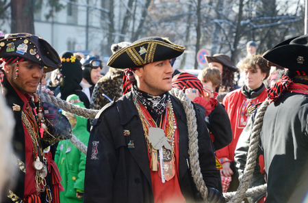 fasching: Mummers are in the street of German city Konstanz at the traditional funfair Fasching