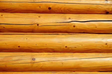 unpainted: Wood wall is made of unpainted beams  Stock Photo