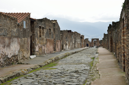 regenerated: Ancient paved street is recovered in the middle of Roman ruins  Pompeii has been a popular tourist destination for over 250 years