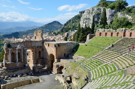 taormina: Ancient Greek theater is the most remarkable monument remaining at Taormina  This is one of the most celebrated ruins in Sicily
