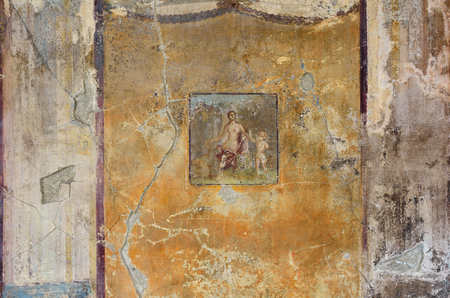 regenerated: Fresco with a Roman goddess Venera is preserved its original appearance on the ancient wall of a Pompeii house