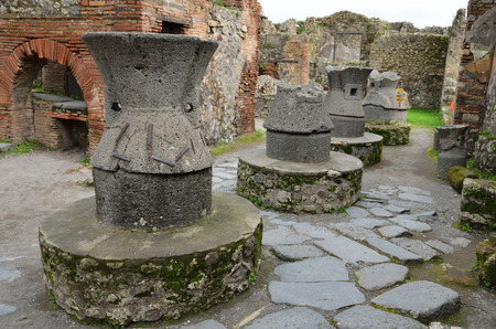 regenerated: Greek pottery workshop is recovered in the lost Roman city Pompeii. Stock Photo