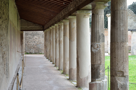 regenerated: Ancient columns are recovered in the gallery of the Roman building in the lost city Pompeii.