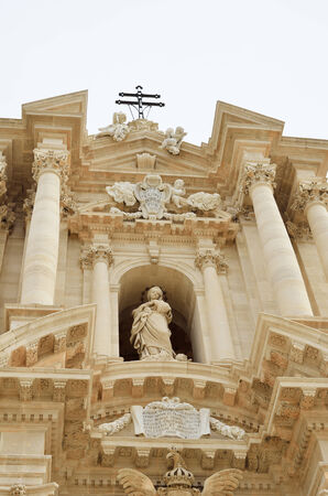 artefacts: The cathedral facade is rebuilt in the baroque style. Duomo is one of the most remarkable artefacts in the ancient Syracuse. Stock Photo