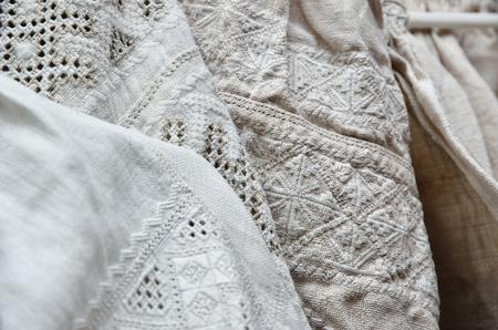 lavishly: The vintage Ukrainian shirts are lavishly embellished with traditional embroidery.