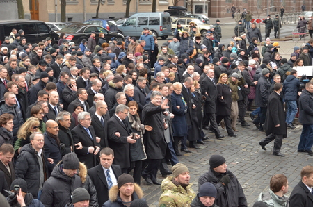 dignity: Kyiv, Ukraine - February 22 2015: European leaders take part in Dignity March dedicated the victims during protests last February in the capital Kiev.