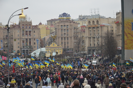 Kyiv, Ukraine - February 22 2015: Thousands of Ukrainians take part in \Dignity March\ dedicated the victims during protests last February in the capital Kiev.