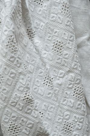 lavishly: The vintage Ukrainian shirt is lavishly embellished with traditional whitework embroidery.