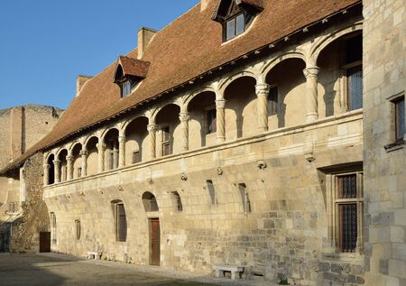 french renaissance: The French ancient castle of the Renaissance style is located in the town Nerac. This is a wing of the original fortress with a round tower and an arcaded balcony with decorative columns. Editorial