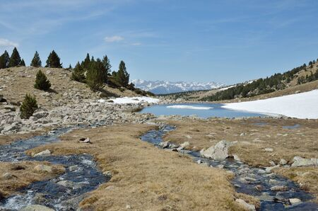 snow fields: The upper part of the Vall-de-Madriu-Perafita-Claror is an exposed glacial landscape with many lakes, snow fields and streams.