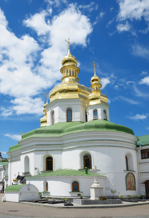 exaltation: The Church of the Exaltation of Crossan is an architectural monument of the XVIII century and the most significant building of the Near Caves in Kiev-Pechersk Lavra. Stock Photo