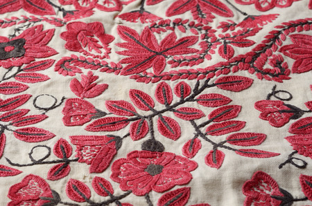 closely: The old handmade embroidery is photographed closely. Stock Photo