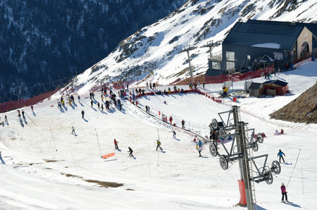 piste: The piste and the platter lift are photographed at the Artouste ski resort above the mountain valley.