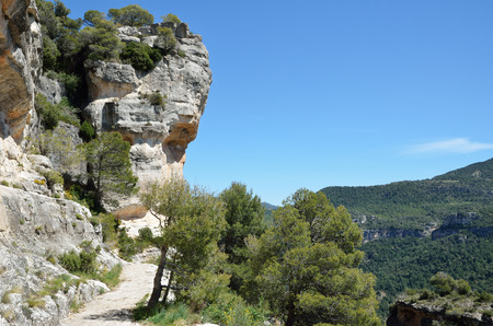 пышной листвой: Siurana is a world-class climbing destination. There are steep walls, slabs, overhangs and other limestone landforms in the Prades mountains overgrown with lush foliage.