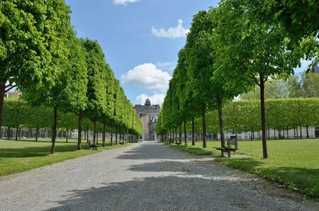 trimmed: The French formal garden and the French landscape garden surround the ancient Pau castle. Editorial