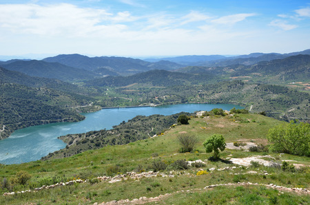 forested: Prades mountains is a large calcareous mountain massif forested. Stock Photo