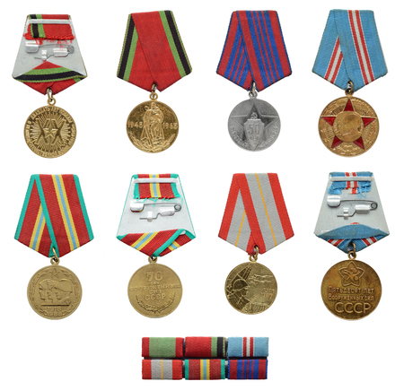 compendium: Collection of the Soviet military badges and ribbon bars isolated on white