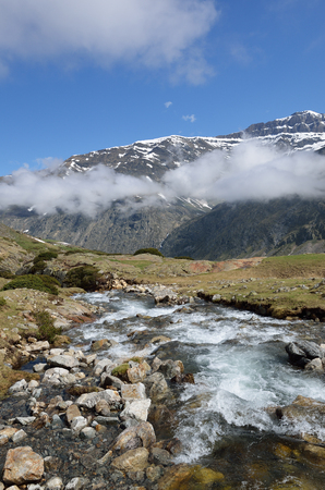 rapidly: The mountain stream is rapidly flowing on the plateau from the cirque of Troumouse.