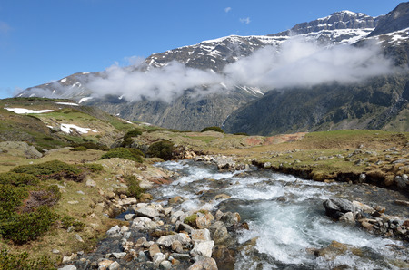 cirque: The mountain stream is rapidly flowing on the highland from the cirque of Troumouse. Stock Photo