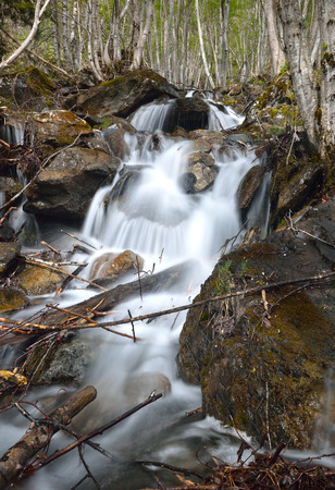 thawed: A mountain stream is running on mossy rocks. The waterfall is photographed at long shutter speed from below. The focus is on the wet stones.