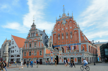 regenerated: Latvia, Riga - August 28 2015: The building of the Brotherhood of Blackheads is one of the most iconic buildings of Old Riga.