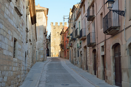 spanish village: The old-time street is in the historic quarter of the antique Spanish village Montblanc. The town is one of the best preserved in Catalonia.
