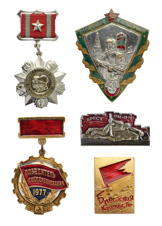 compendium: Collection of the Soviet military and labor badges isolated on white