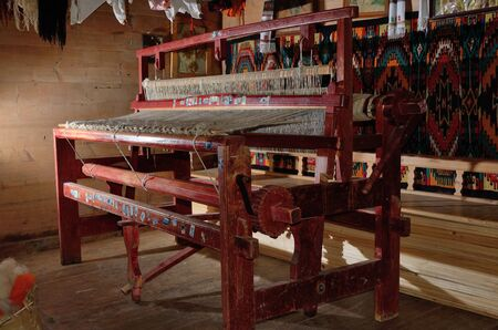 existent: Typical Hutsul apparatus for making a fabric by weaving wool yarn or thread