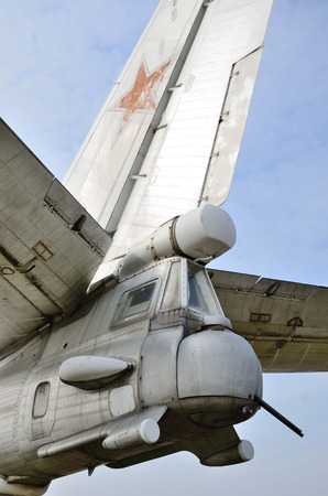 bomber: The tail of the Soviet bomber airplane is photographed at the exhibition.