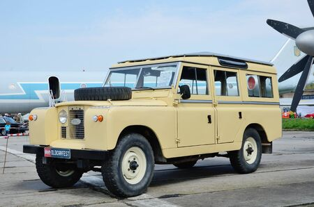 fourwheeldrive: Kyiv, Ukraine - April 25 2015: The old-fashioned automobile Land Rover is presented on the exhibition of the vintage transportation.