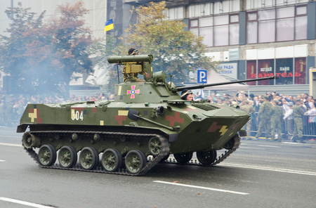 airborne vehicle: Kyiv, Ukraine - August 24 2016: The Soviet airborne infantry fighting vehicle BMD-2 takes part in the parade at the Independence Day in the Ukrainian capital.