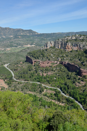Prades mountains is a large calcareous mountain massif forested. Stock Photo