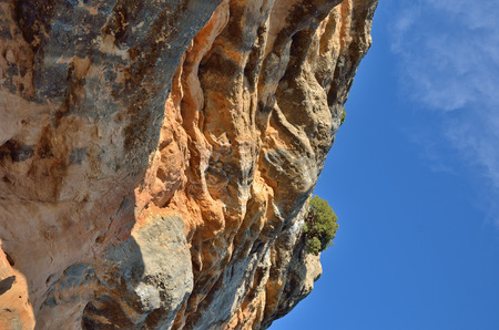 overhang: The reddish overhang of the mount Stock Photo