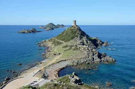 extant: Headland at Pointe de la Parata with the extant Genoese tower is situated near the Isles Sanguinaires (the Archipelago of the Sanguinaires) about 15km from Ajaccio in the Corsican coast.