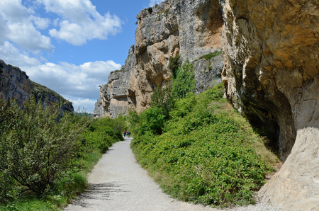 This is one of the most spectacular gorges in the Navarre region and it can easily be explored along the route at the foot of the cliffs. Stock Photo