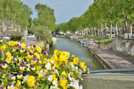 navigable: Ancient canal de la Robin runs through the center of the French city Narbonne.