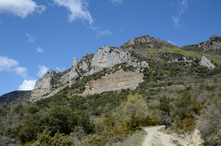 The rocky pass is along the mountain slope above the monastery of San Salvador of Leyre.