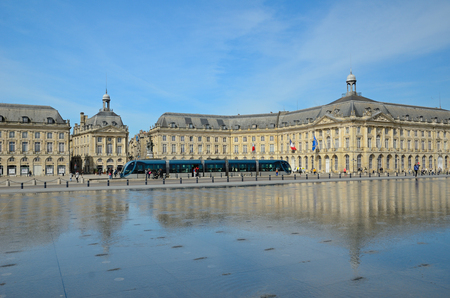 This is the worlds largest reflecting pool Miroir des Quais in the square Place de la Bourse in the French city Bordeaux.