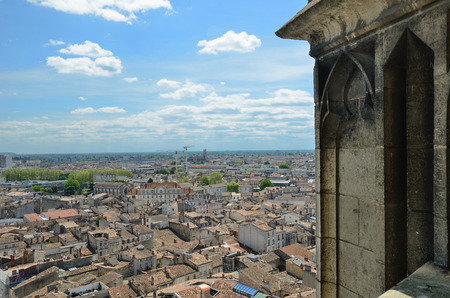 Bordeaux has one of the biggest 18th-century architectural urban areas in Europe. The old city is photographed from the ancient tower.