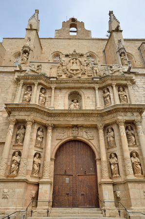 The Gothic church of Santa Maria has the ornate baroque facade in the medieval Spanish town Montblanc.