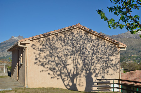 A tree casts a shadow on the wall of the modern cottage in the Corsican village Casamaccioli on the mountain slope.