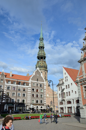 Latvia, Riga - July 04 2016: The building of the Brotherhood of Blackheads is one of the most iconic buildings of Old Riga.