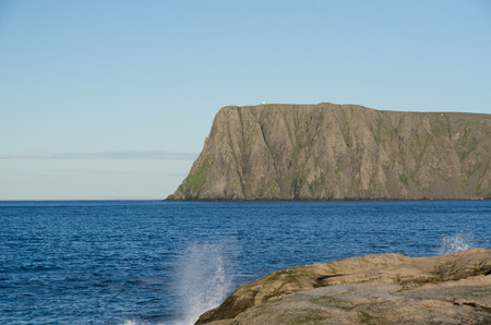 North Cape with a steep cliff and a large flat plateau is in the Barents Sea.