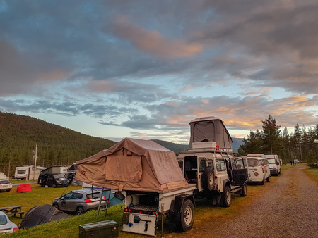 Motoring tourists of the Paris-North Cape Photo Rally have set up a camp in the Randsverk camping.